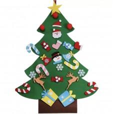 Новогодняя елка из фетра на стену с игрушками-украшениями на липучках