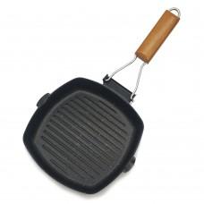 Non-stick grill pan Synmore cookware Сковорода-гриль с деревянной ручкой 20 см