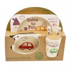 Набор детской посуды из Бамбука Bamboo kids set Машинки