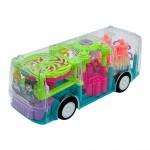 Прозрачный светящийся автобус со световыми и музыкальными эффектами и движущимися деталями