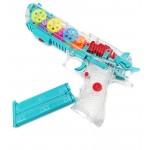 Прозрачный игрушечный пистолет со световыми и музыкальными и двумя режимами эффектами с движущимися шестеренками