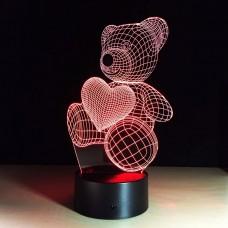 3D светильник ночник Мишка