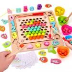 Развивающая детская Математическая игра Multi-function Bead holder Сортер с Рыбалкой цифрами и шариками JHTOY-608