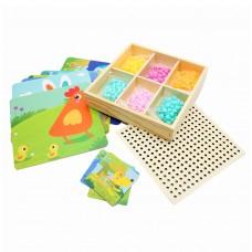 Домашние животные с 10 трафаретами карточками и гвоздиками для развития логики и воображения