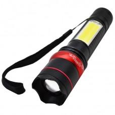 Компактный яркий светодиодный аккумуляторный LED+COB фонарь FA-801-USB Cree USB powerbank