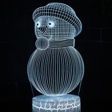 3D светильник ночник Снеговичок