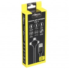 FORZA Кабель для зарядки 3 в 1 - IP, micro USB, Type-C, 1 м, 470-045