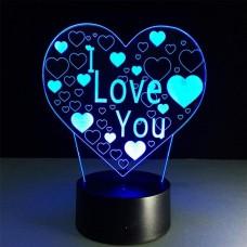 3D светильник ночник Сердце