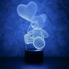 3D светильник ночник Медвежонок с шариком