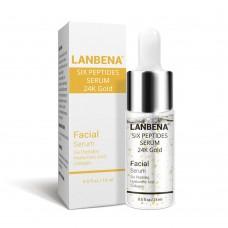 Антивозрастная сыворотка для лица Lanbena Peptides Serum 24K Gold с 6-ю пептидами и 24 каратным золотом