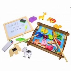 Развивающая многофункциональная магнитная детская игра - рыбалка с доской для рисования, подводный мир