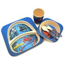 Набор детской посуды из Бамбука Bamboo kids set Человек Паук  (Супер герой)