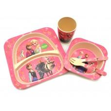 Набор детской посуды из Бамбука Bamboo kids set Зимние Принцессы