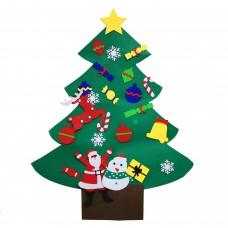 Новогодняя Елка из фетра на стену с Большими игрушками и украшениями на липучках